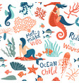 magic seamless pattern underwater animals vector image