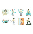 man 3d game icon set cartoon style vector image