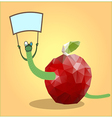 mosaic apple with a worm vector image vector image
