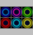 neon round frame shining circle banner vector image
