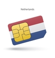 Netherlands mobile phone sim card with flag vector image
