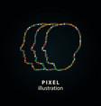 people - pixel icon on black vector image