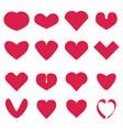 pink hearts set vector image