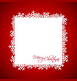 red christmas gift card merry christmas snowflakes vector image