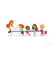 redhead female teacher and school children vector image