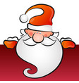 santa with a beard peeps out a holiday card vector image