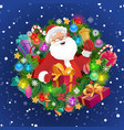 santa with xmas bell gift box christmas wreath vector image vector image