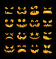 Scary Halloween pumpkin faces set vector image vector image