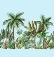 seamless border with tropical tree such as palm vector image vector image