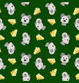 seamless pattern with mice and pieces of cheeze vector image