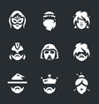 set of halloween costume icons vector image