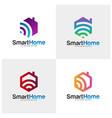 set wifi house logo smart home tech logo vector image vector image