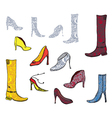 Shoes icons with patterns vector image vector image