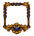 square blue gold frame with buttons and copy space vector image