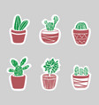 sticker cacti set cute vector image