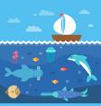 stylized flat underwater vector image vector image