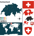 Switzerland map world vector image vector image