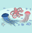 two jellyfish octopus and sea beasts marine life vector image