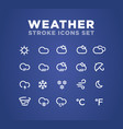weather icons stroke set vector image