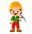 miners posing with a pickaxe vector image