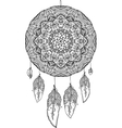 Black and white doodle dream catcher vector image
